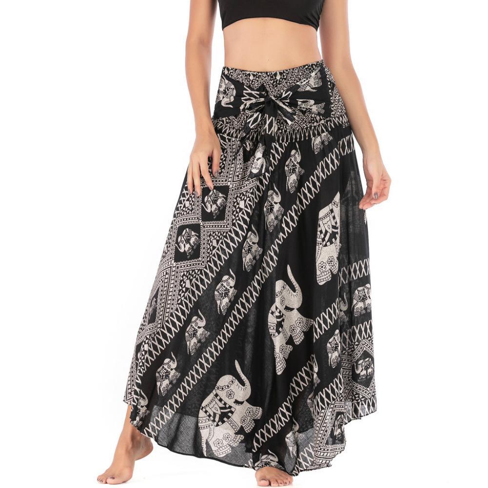 Femmes plage style bohème ethnique tsigane Boho Hippie Balancez Fleurs Jupe longue de femmes taille élastique Floral Halter Jupe H4