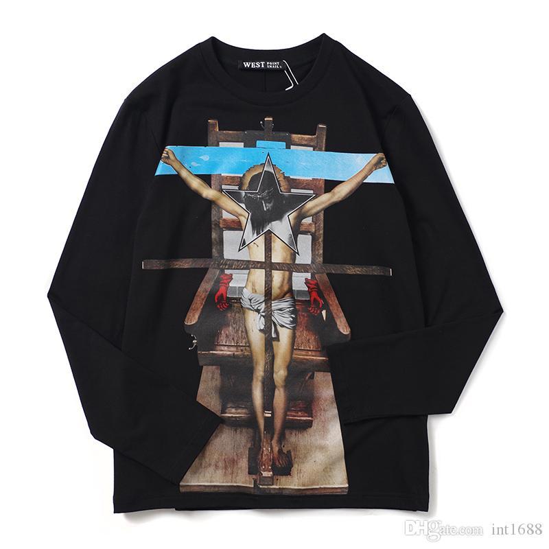 2019 moda outono e inverno luva longa dos homens T-shirt ocasional camiseta T Tops Mens cruz Jesus imprimir puro algodão camisa dos homens