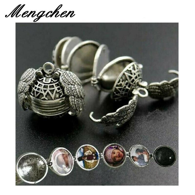 10Pcs / Lot espansione ali di gioielli regalo ali Photo Locket Collana per le donne gli uomini di angelo Decoration Box Collane