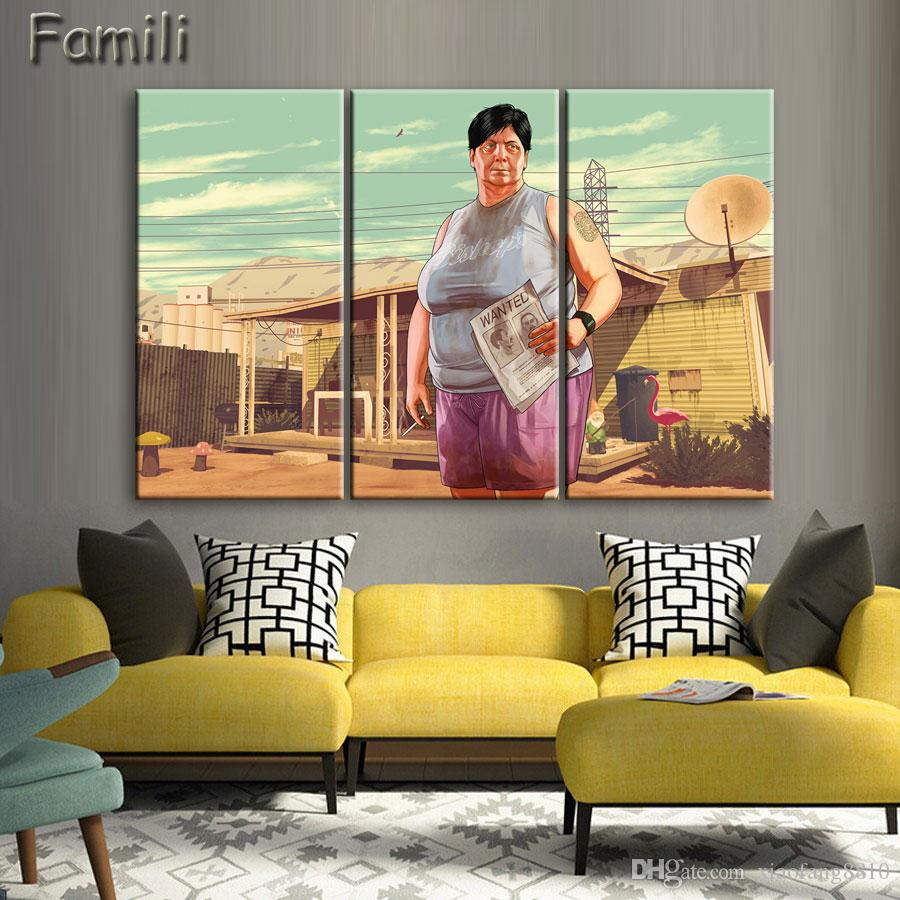 Wall Art Canvas Prints.2019 Unframed Grand Theft Auto V Wall Art Canvas Print Poster Game Hot Gta 5 Images For Home Decoration Painting From Xiaofang8810 9 38 Dhgate Com