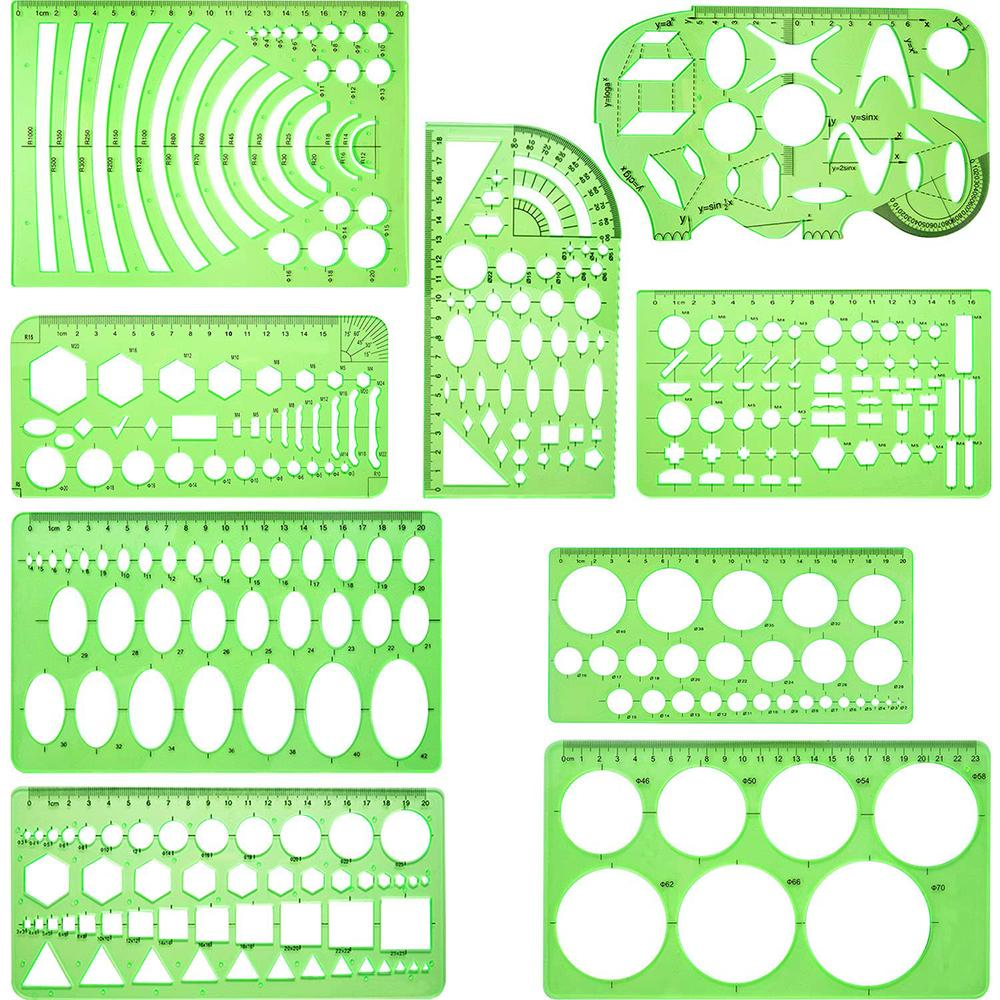 6 /9 Pieces Drawings Templates Measuring Geometric Building Formwork Rulers Plastic For School Office Supplies Clear Green