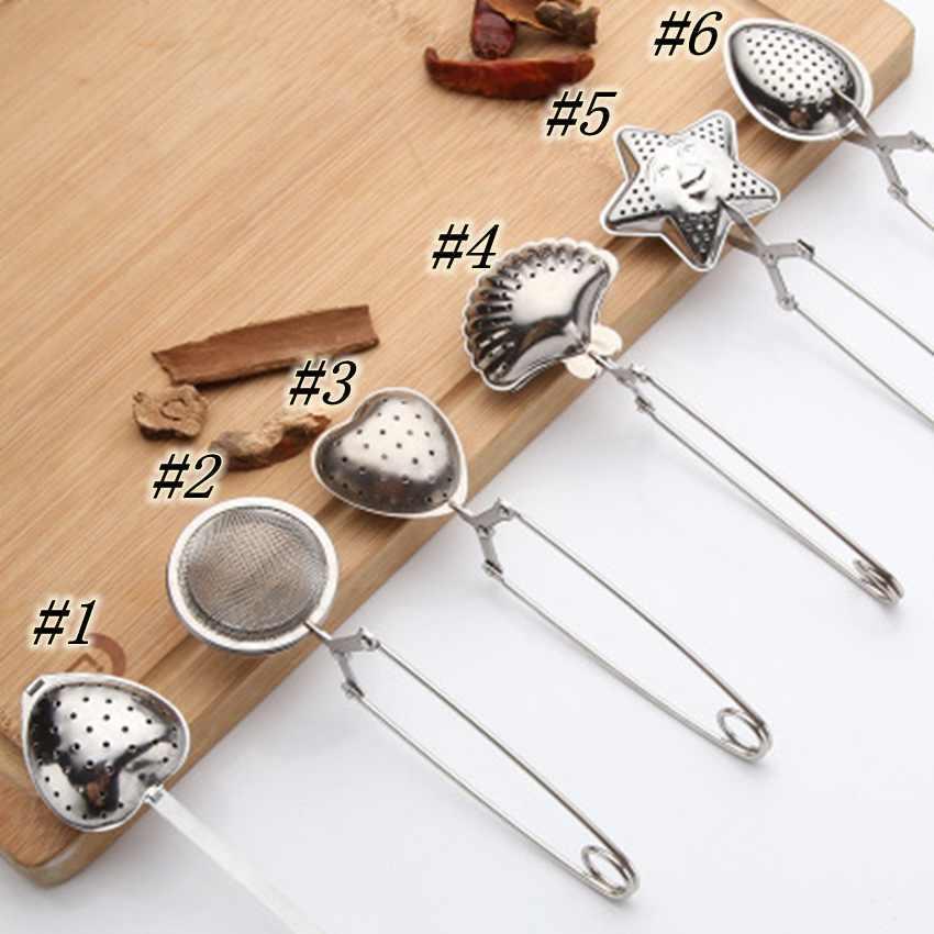 6 أنماط الفولاذ المقاوم للصدأ مصفاة الشاي الشاي المساعد على التحلل ملعقة توابل ستار شل البيضاوي جولة شكل قلب مصفاة Teaware ZZA1825