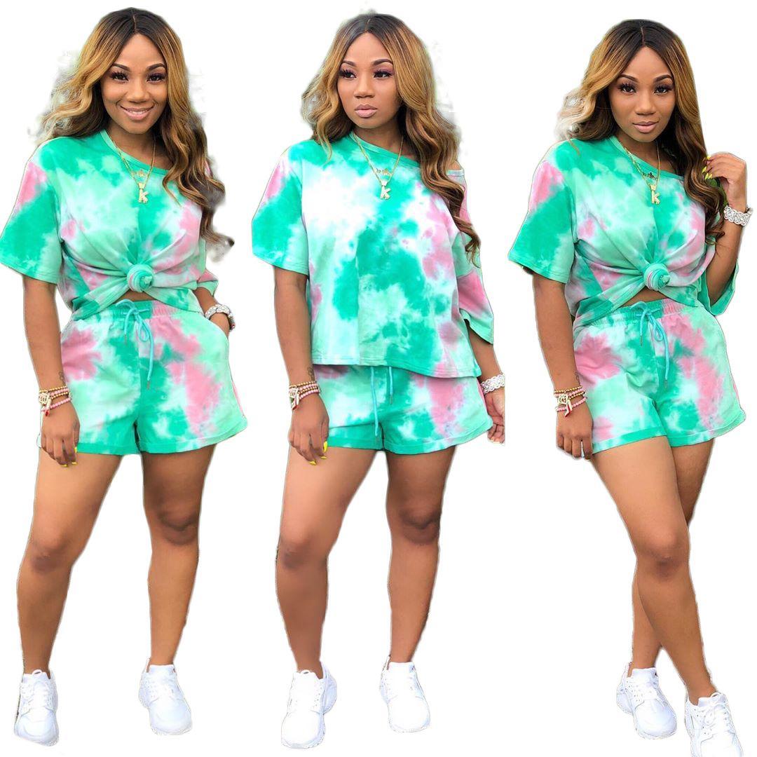 2XL Tie Dyeing Print Сексуальный комплект из двух частей Женская одежда на одно плечо с коротким рукавом и на шнуровке Короткий костюм Большой размер Клубный наряд