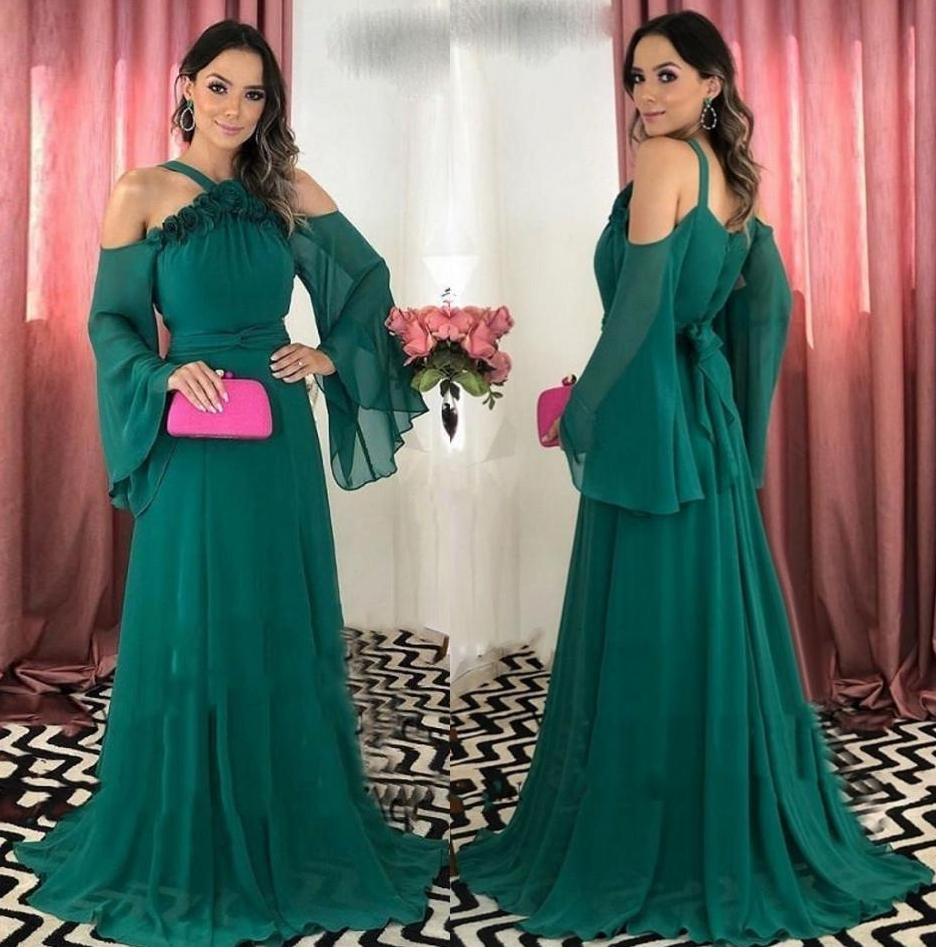 Sexy Jägergrün Chiffon Abendkleider lange Frauen-Partei-Kleider Halfter Sweep-Zug eine Linie für besondere Anlässe Abendkleid Vestidos De Fiesta