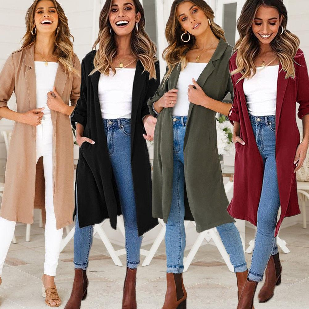 2019 أزياء الخريف المرأة الجديدة عارضة معطف خندق طويل كبير جدا اعتلى خمر غسلها أنثى أبلى فضفاض خندق الملابس