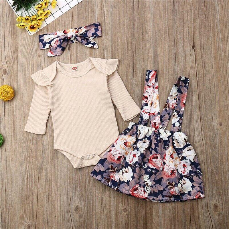 Recién nacido para niños de los bebés de ropa alrededor del cuello de la colmena de la manga larga sólida correa Bodysuit faldas de estampado floral arco de la venda 3pc trajes