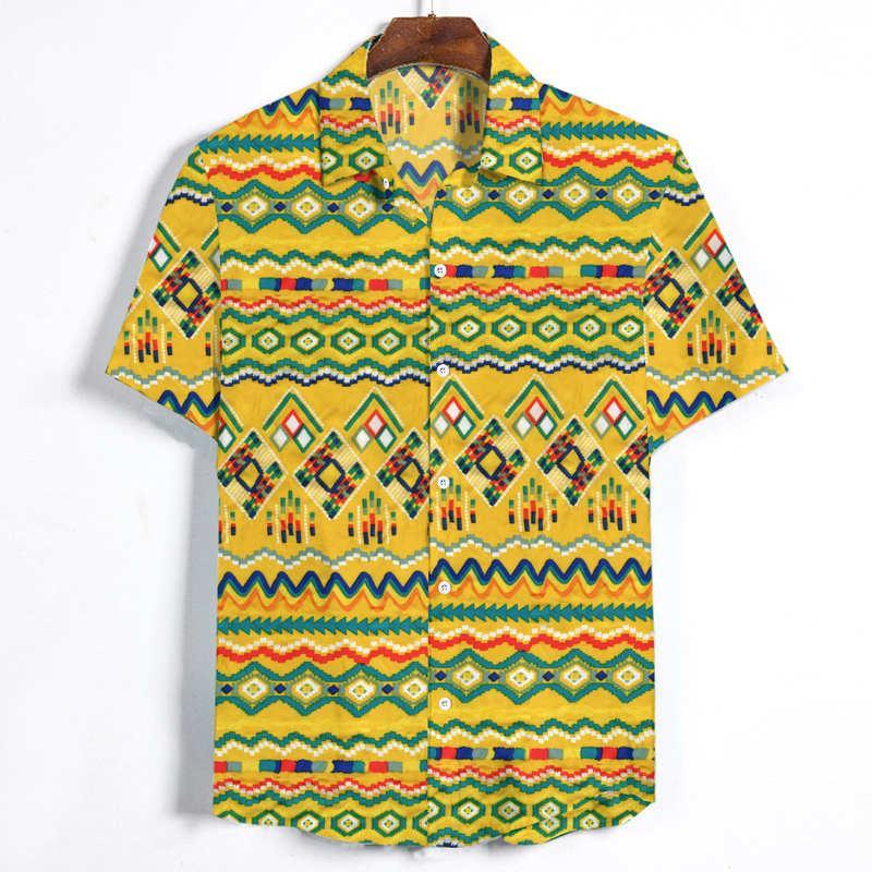 Hot Sale Designer casual mens camisas de algodão e linho Padrão manga curta Verão Hawaii férias geométrica impressão soltas Shirts Tops Chemise