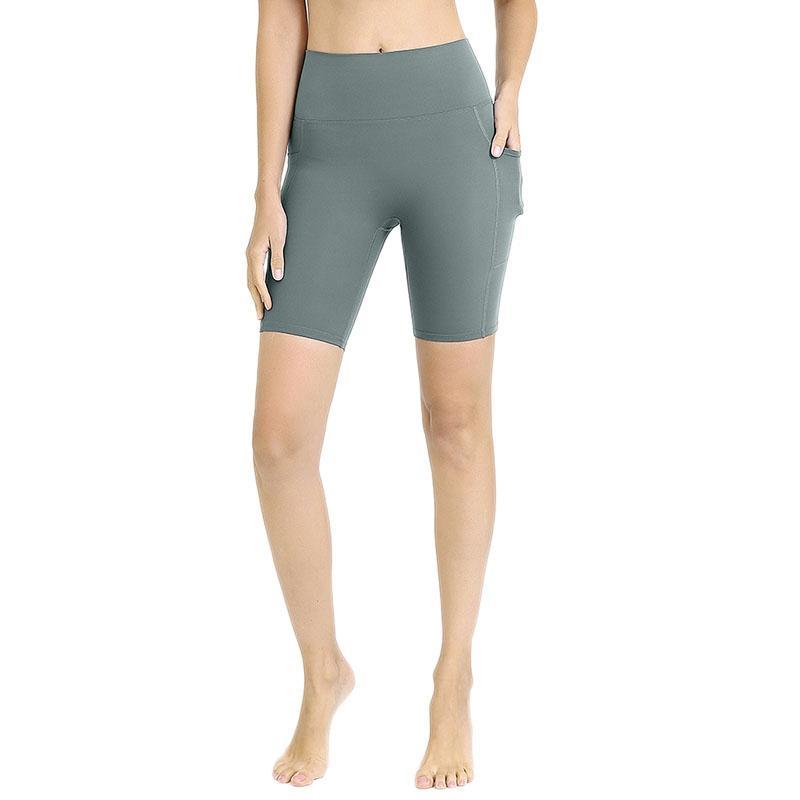 Летняя женская йога шорты двойной стороне Карманы Спортивные колготки Бесшовные фитнес шорты