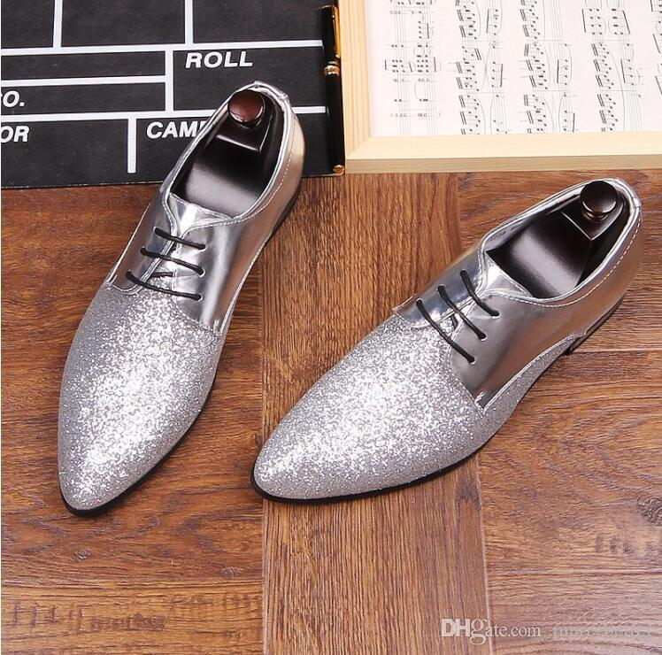 New Designer Men glitter pointed black red silver flats Shoes Male Rubber bottom wedding shoes Sapato Social Masculino