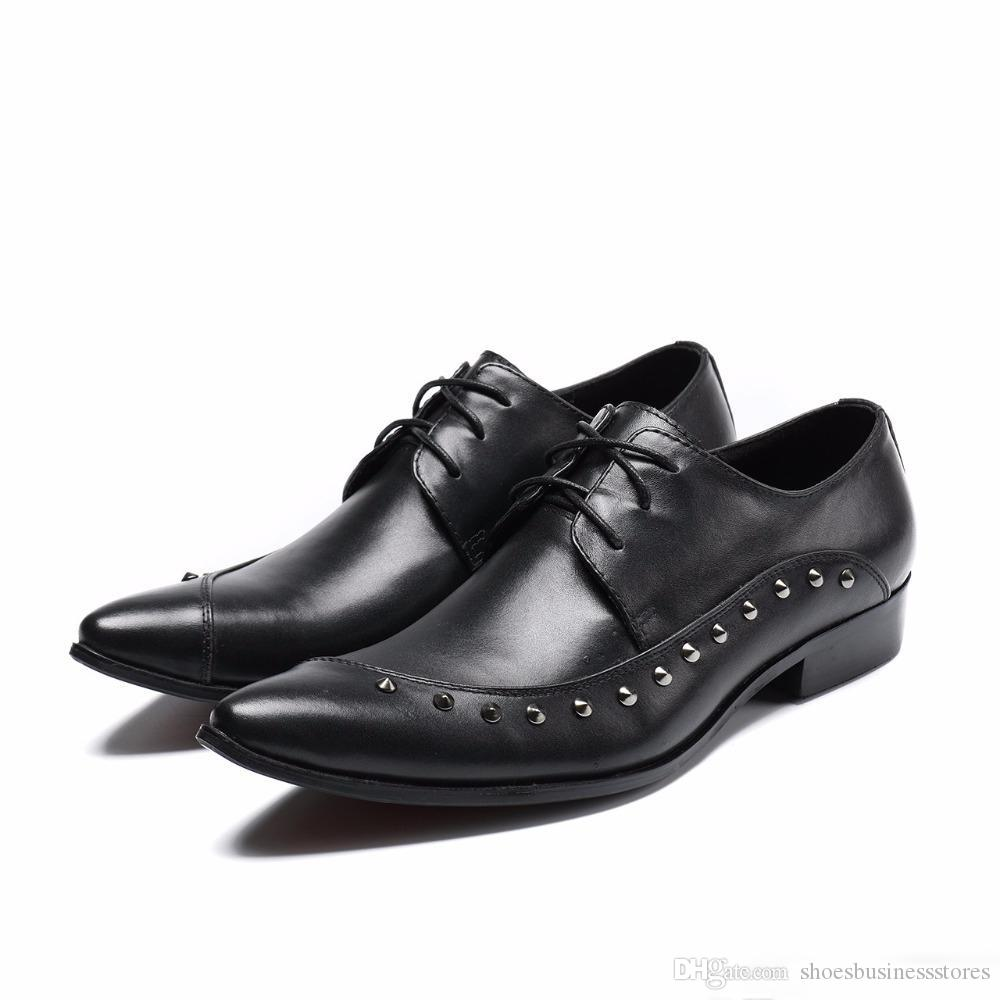 Fashion Men Formal Wedding Shoes Black Genuine Leather Male Oxfords male paty prom shoes Business Lace Up Dress Shoes