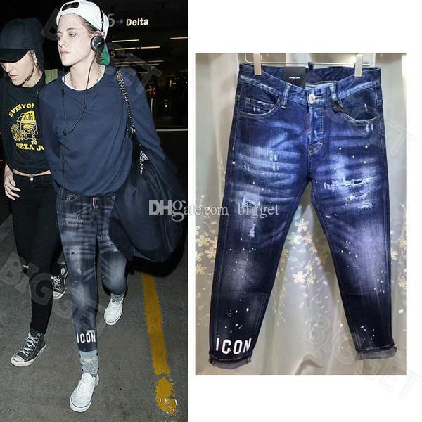 Джинсовые брюки Женские забрызганные краской предварительно поврежденные узкие джинсы Cool Girl Fit USA Europe Italy Style Design