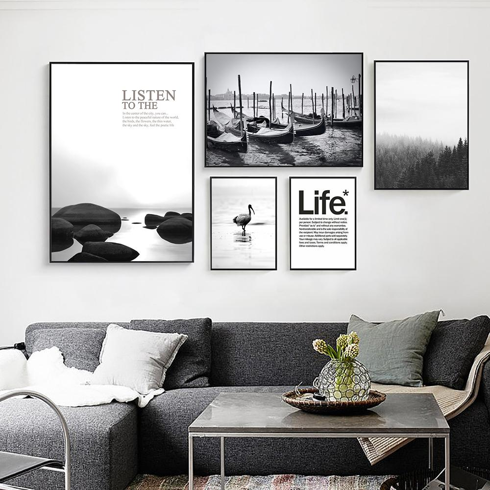 Nordic Style Boat Pier Landscape Poster Life Quotes Canvas Painting Black And White Print Wall Pictures For Living Room Decor