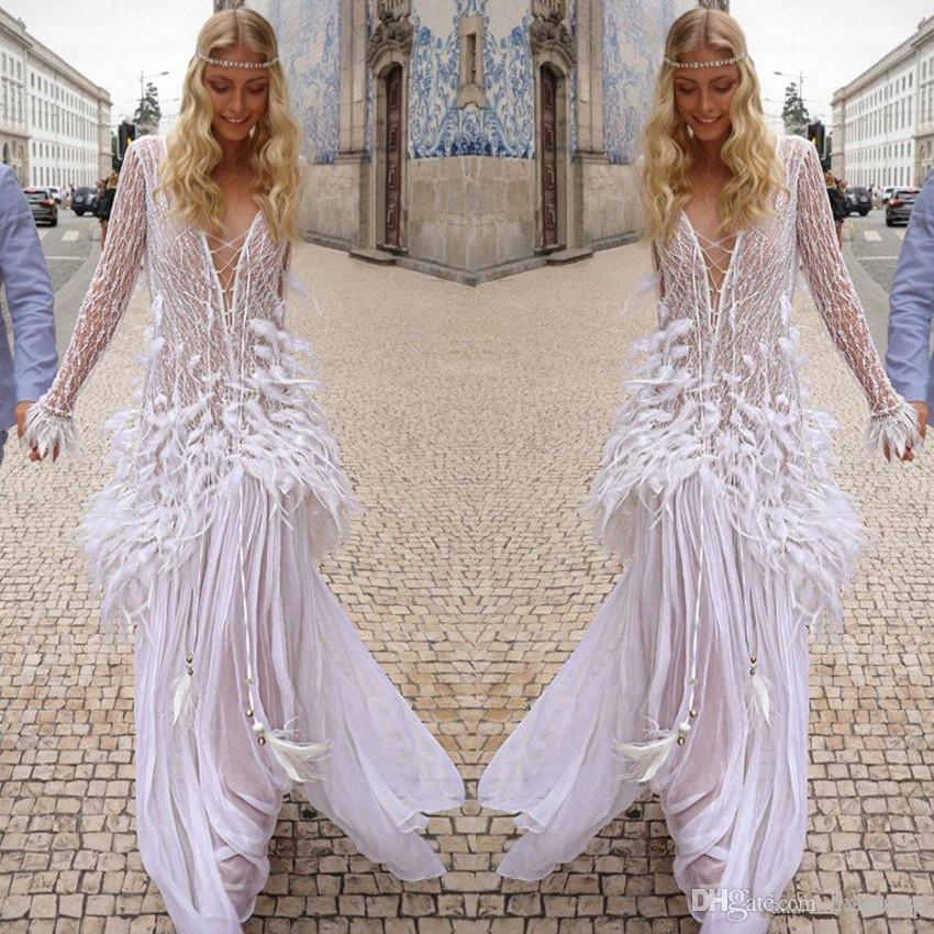 Charchy Boho Wedding Dresses V Neck A Line Lace Appliqued Long Sleeve Beach Wedding Dress Sweep Train Custom Feather Bohemian Bridal Gowns