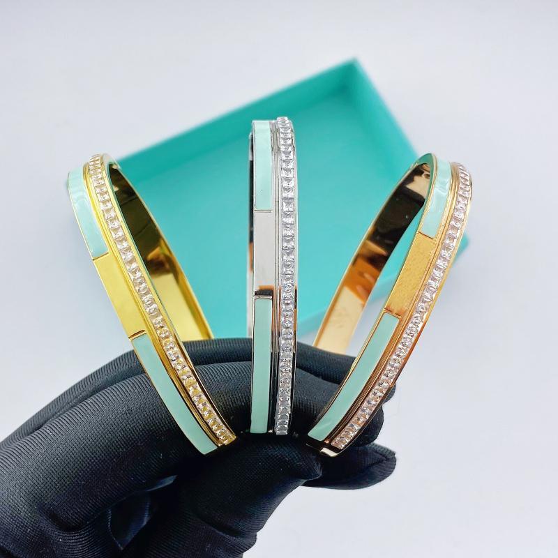 bracciale in acciaio inossidabile per gioielli braccialetto zircone accessori verde delle donne ins all'ingrosso