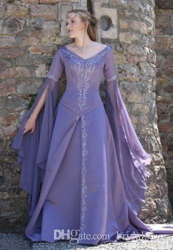 Dubai Abaya Caftan Long Sleeve Prom Dresses Lavender Medieval Flapper Formal Evening Gown V Neck Victorian Gothic Prom Dress 2019 Boho Cheap