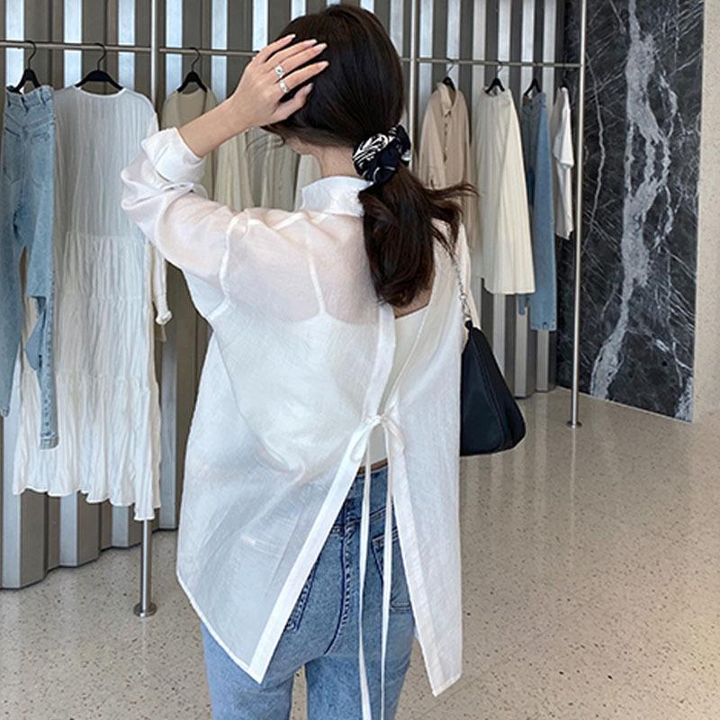 das mulheres Verão Blusas Moda de Nova Vire-down Collar Sólidos Branco Chiffon shirt Office Lady Sexy 2020 Tops do verão Mulher Moda