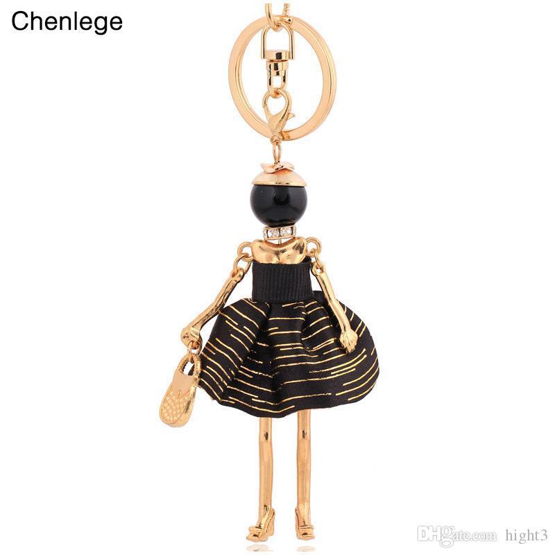 chenlege 2017 fashion keychains handbag trendy girl doll key ring beautiful key chain for buckle charm pretty women keyrings