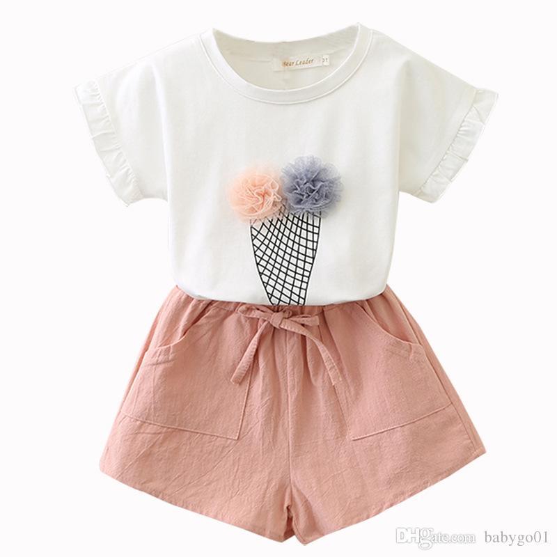 الفتيات مجموعات الملابس 2019 الصيف القطن سترة اثنان قطعة بلا أكمام الأطفال مجموعات عارضة أزياء الفتيات ملابس تنورة تنورة