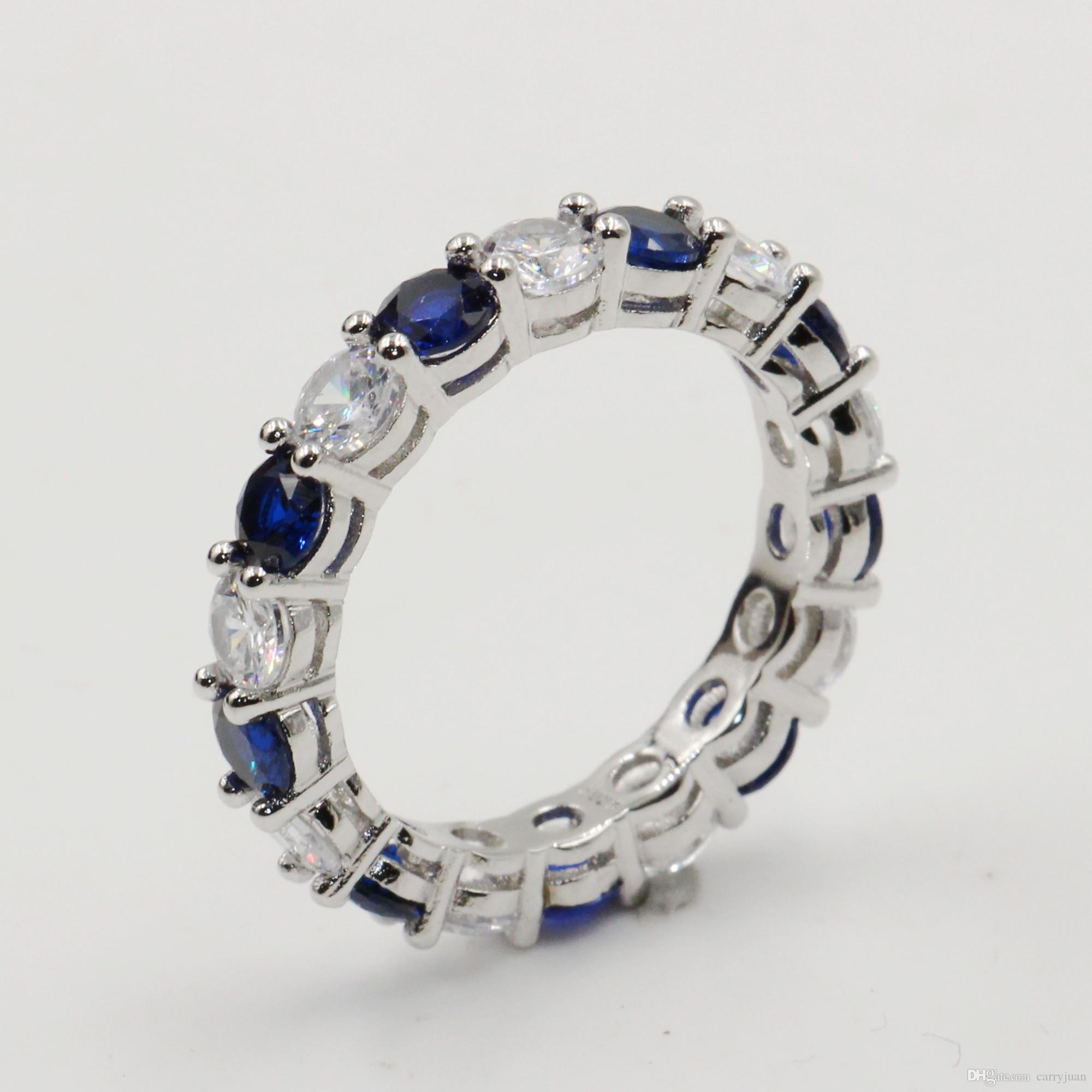 Оптовые много Stock игристые мода ювелирные изделия Real 925 стерлингового серебра синий сапфир CZ Алмазный Stack обручальное кольцо для женщин Подарок