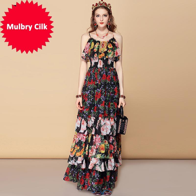 Богемный праздник партии лето макси платье женская эластичная талия каскадные оборки цветочный принт элегантное длинное платье