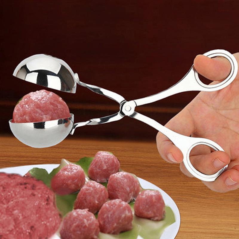 Qualité alimentaire pratique Meatball Maker poisson bricolage en acier inoxydable farcies de viande Machine de boule de cuisson de la viande casquette de trou Outils de moule de cuisine
