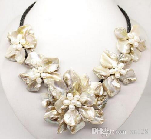 Wholesale Cheap Classic baroque freshwater cultured pearl shell flower leather weave necklace