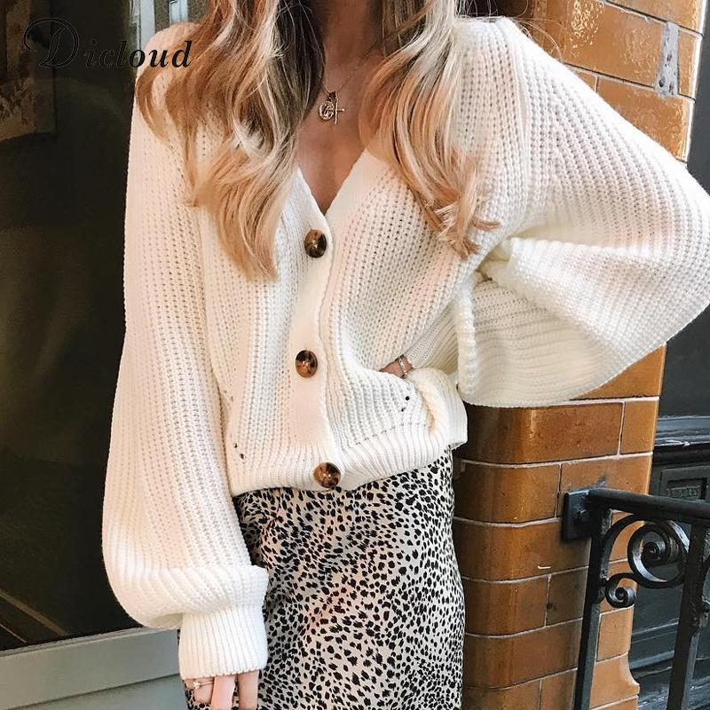 DICLOUD White Cardigan Women Winter 2020 Long Batwing Sleeve Oversized Knitted Sweater Hollow Out Knitwear Korean Style CX200810