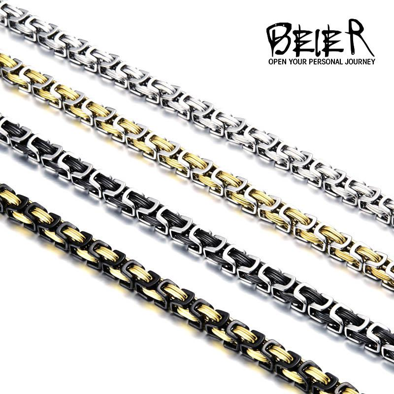 Beier Stainless Steel Men Punk Rock Jewelry High Quality Pulseira Masculina Byzantine Chain Link Necklace For Women