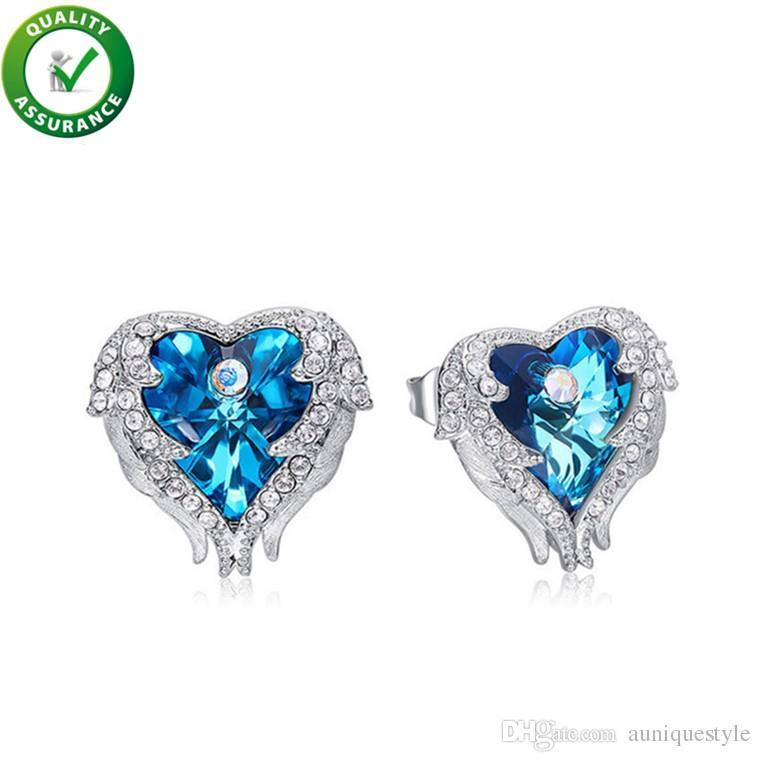 Luxury Designer Jewelry Women Earrings Iced Out Bling Diamond Earrings Women Silver Studs Ear Ring Crystal Heart Ocean Wedding Accessories