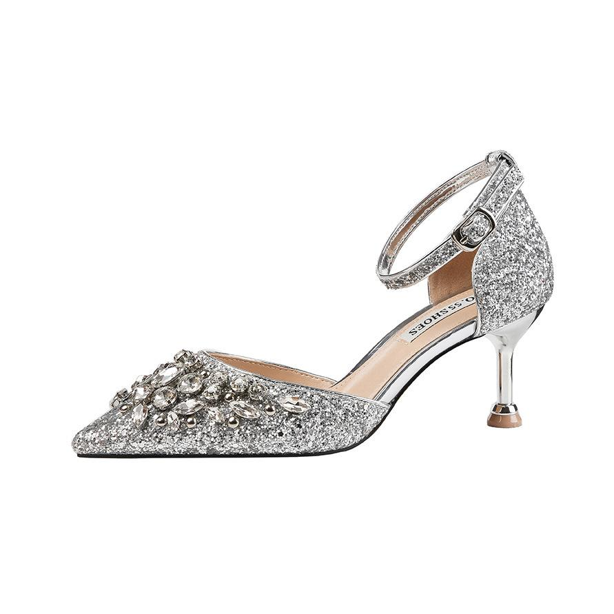New designer rhinestone pointed toe 6.5cm stiletto high heels women wedding shoes office lady party pumps 9266-1