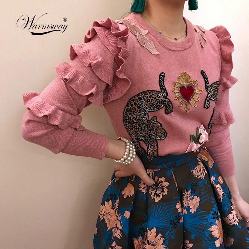 Sonbahar Kış Hayvan Nakış Örme Kazak Kazaklar Kadın Pist Tasarım Zarif Üst Giysi Bayan Jumper C-193