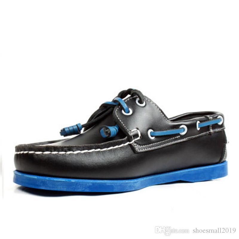 Mann-echtes Veloursleder Fahren Schuhe Docksides Classic Boat Shoe Beleg auf Ebene Loafers Für Homme 7 # 23 / 20D50
