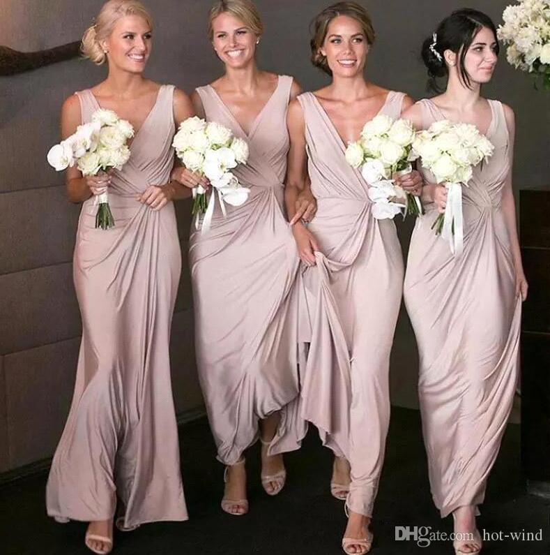 Elegant Dusty Rose Bridesmaid Dresses Long V Neck Floor Length Chiffon Draped Sleeveless Maid Of Honor Formal Dress Wedding Guest BM1641
