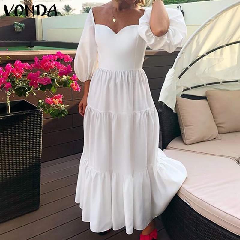 2020 VONDA Frauen-Sommer-Kleid Sexy 3/4 Hülsen-Quadrat-Kragen gekräuselter Partei-Maxi langer Kleid-Strand Sundress Plus Size Vestidos