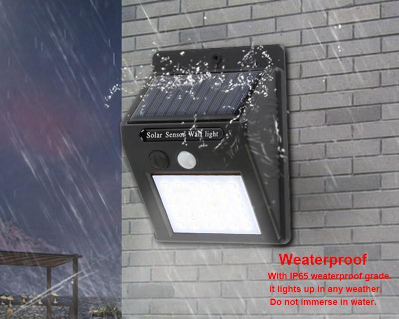 Capteur intelligent et énergie solaire LED Applique murale Capteur de mouvement PIR Lampes d'extérieur à LED étanches Lumineuses de paysage Lumineuses à 3 faces
