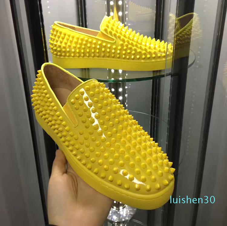 Yeni Pik Tekne Veau Velours sarı rugan ani düşük top rahat ayakkabılar Kayma-On kadın erkek dip spor ayakkabıları makosenler SIZE 35-46 L30 kırmızı