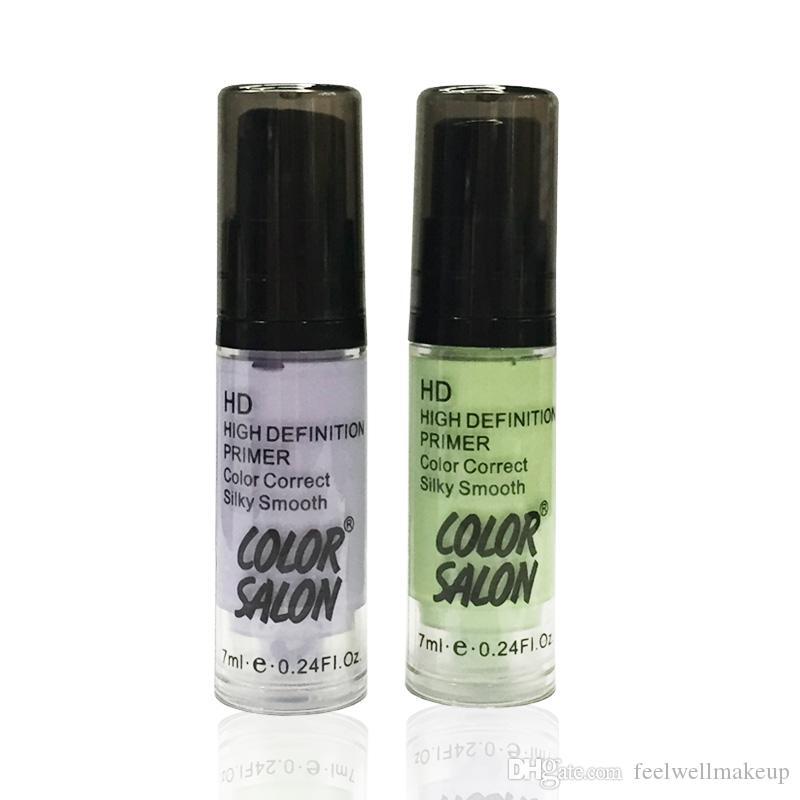 Color Salon 2pcs 7ml HD maquillaje Base de alta definición Primer Color Corret Suave y sedosa cubierta de maquillaje corrector cosmético