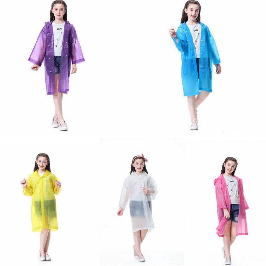 Transparent Kids Raincoat Boy Girl Children Rain Coat Waterproof EVA Rain Cover Poncho Kids Rainwear LJJO7848