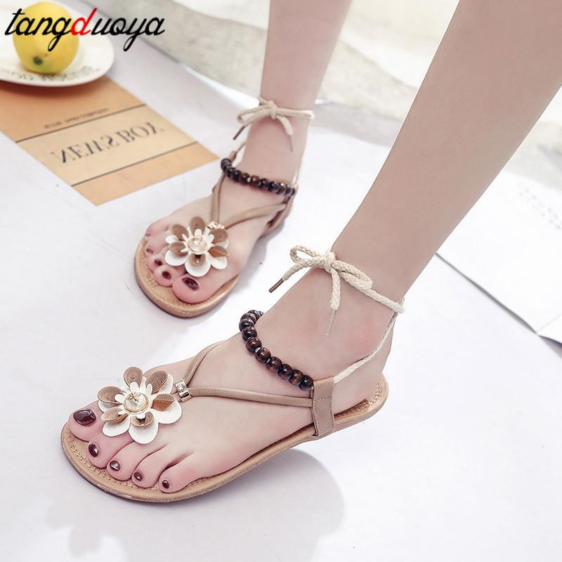 New Womens Flower Ankle Strap Flat Heel Sandals Shoes Summer Flip Flops Jelly US