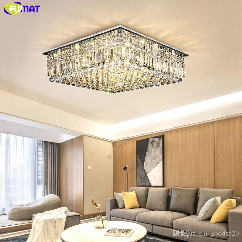 FUMAT Crystal K9 Square Remote Control Ceiling Lamps Luxury Chandelier Lights LED Luminaria Living Dining Room Light Hanglamp