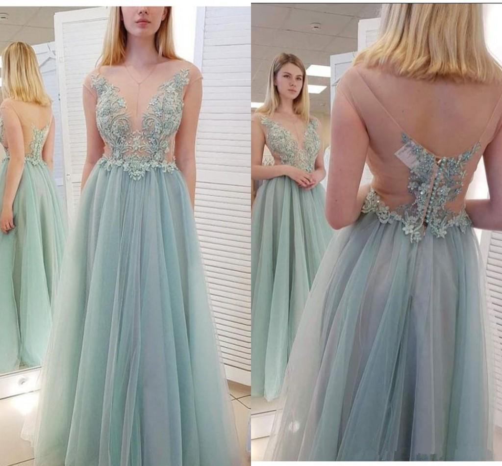 Крутые Capped рукава платья выпускного вечера с аппликация Кнопки Sexy Back Vestidos De Festa Long тюль партии Gowns