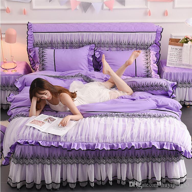 Sólido Princesa Cor Colcha conjuntos de cama 4pcs Lace Bedclothes Bed Sheet saia roxa capa de edredão Lençóis cabido fronhas de algodão
