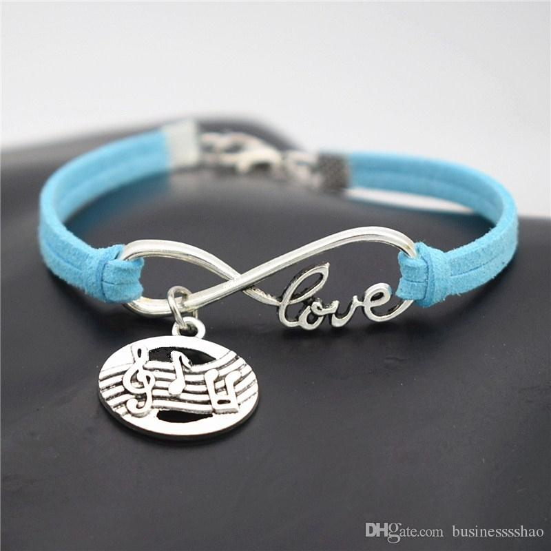 Design Bohemian Style Blue Leather Suede Bracelets Bangles Vintage Punk Infinity Love Oval Music Score Symbol Musical Note Wristband Jewelry