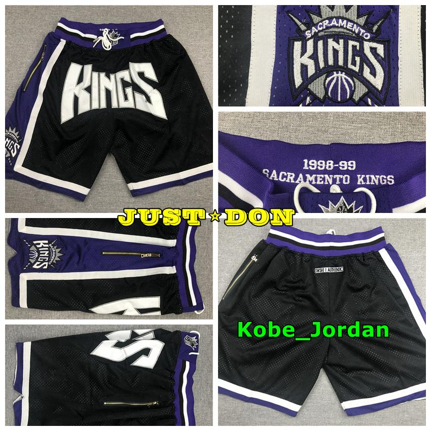 Mens JUST DON Pocket Basketball Shorts Stitched 1998-99 Black Pocket SacramentoKingsShorts Lining Mesh Sports Pocket Sweatpants