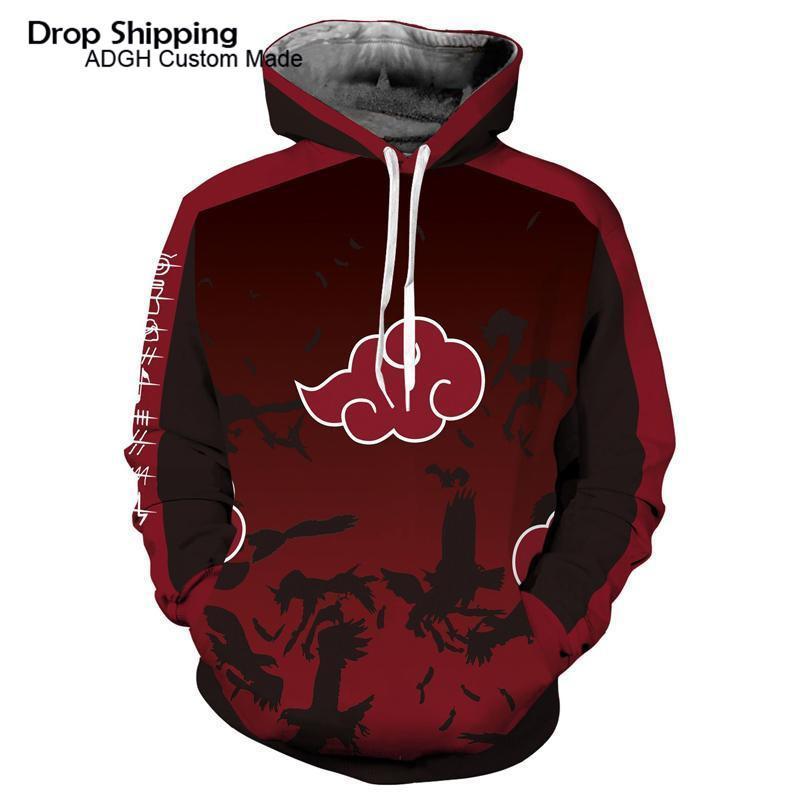 Hoodie Akatsuki pulôver personalizado Hoodie Streetwear Hip Hop dos desenhos animados Camisola para homens revestimento encapuçado Dropshipping