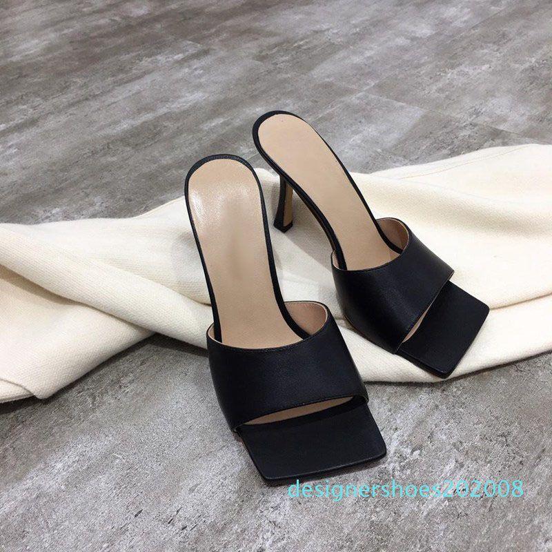 Diseñador de las mujeres de lujo del flip-flop de napa sueño dedo del pie cuadrado de la sandalia sandalias ocasionales del estiramiento de las señoras de lujo de la boda la mujer zapatillas zapatos de tacón alto d88