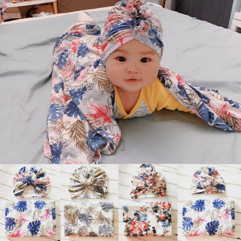 Bambino appena nato della ragazza di cotone floreale morbido Swaddle Wrap Coperta Sacco a pelo Panno + Cappello insieme del bambino Covers 2pz
