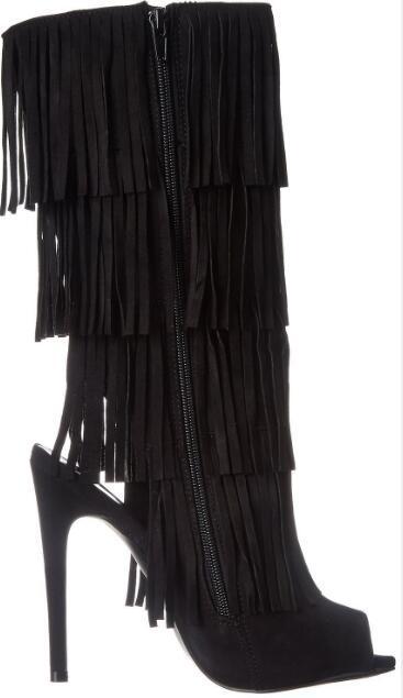 Горящие продажи! Женщина замша черный открытый носок бахрома высокий каблук полусапожки моды открытой пятки писк носок супер высокие тонкие сапоги