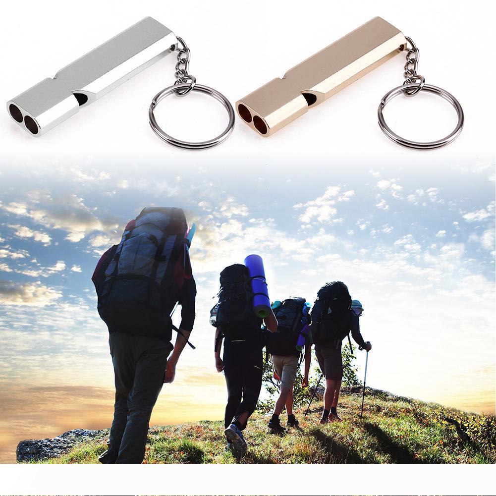 Mini Taşınabilir 150db Çift Boru Yüksek Desibel Açık Kamp Yürüyüş Survival Düdük Çift frekanslı Acil Düdük Anahtarlık WS-5