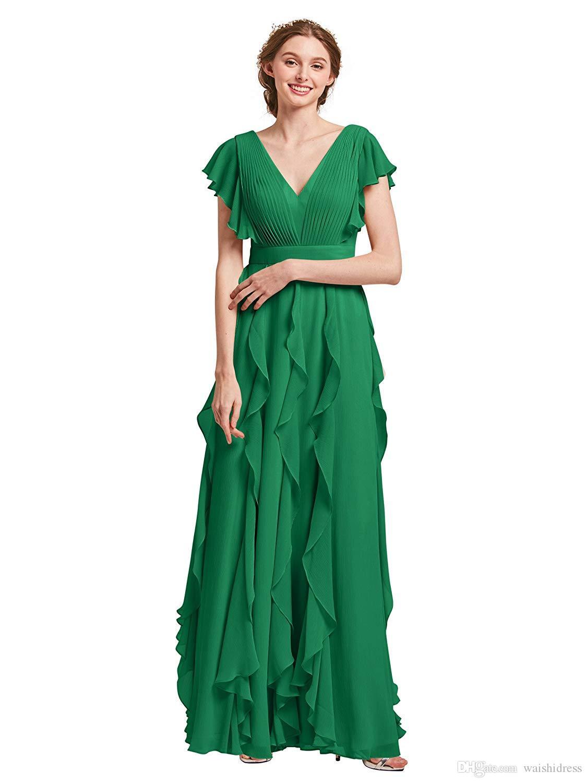2019 Green Bridesmaid Dress V-Ausschnitt A-Linie Sexy V-Rücken Plissee Rüschen bodenlangen Hochzeitsgast Kleid mit Gürtel